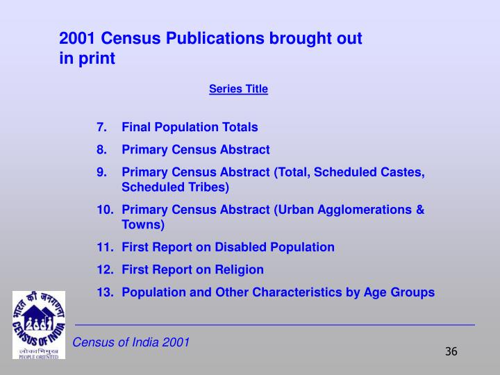 2001 Census Publications brought out in print