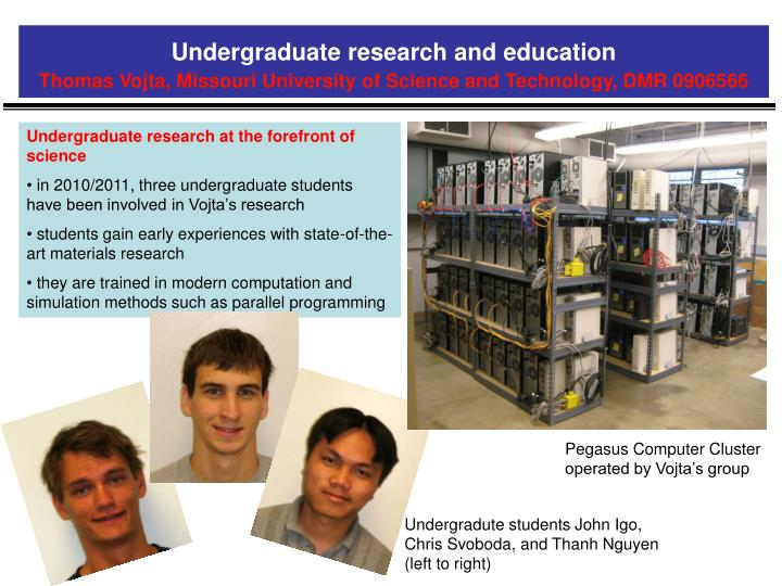 Undergraduate research and education