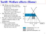 tariff welfare effects home