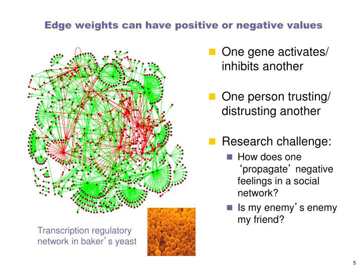 Edge weights can have positive or negative values