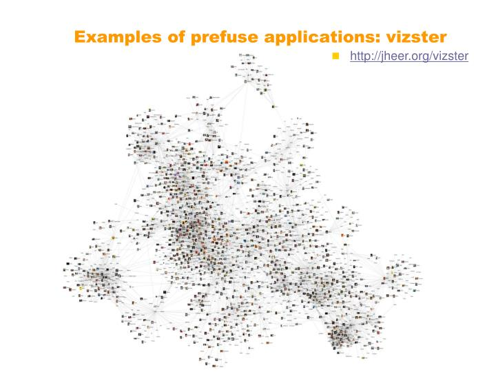 Examples of prefuse applications: vizster
