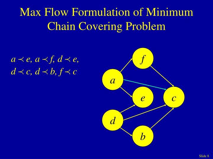 Max Flow Formulation of Minimum Chain Covering Problem