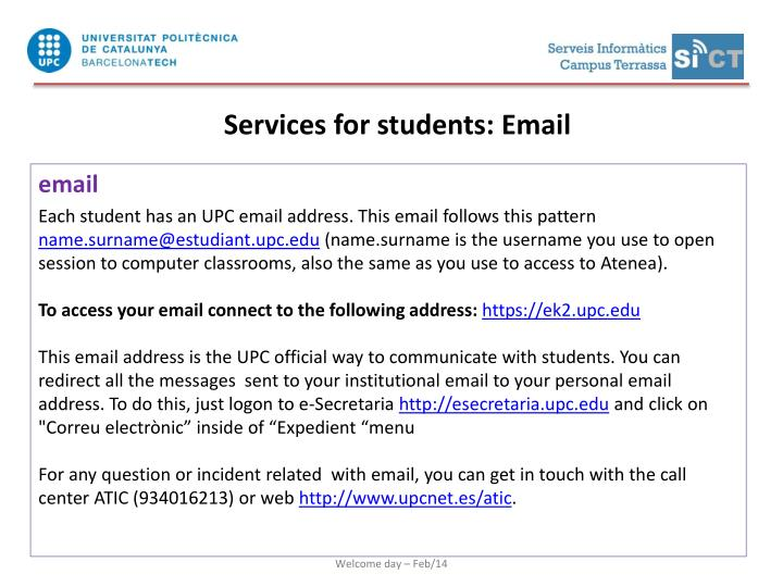 Services for students: Email