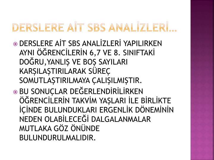 DERSLERE AİT SBS ANALİZLERİ…