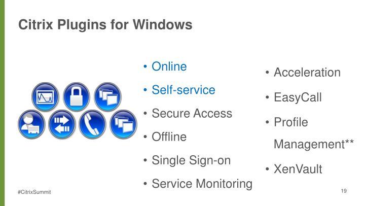 Citrix Plugins for Windows