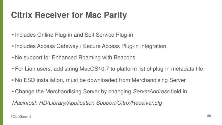 Citrix Receiver for Mac Parity