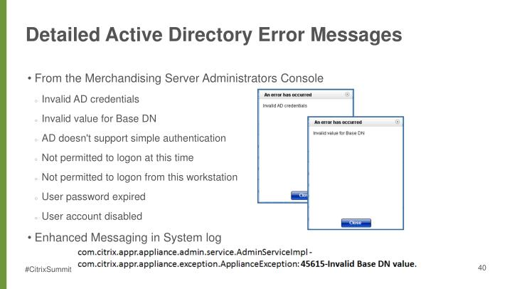 Detailed Active Directory Error Messages