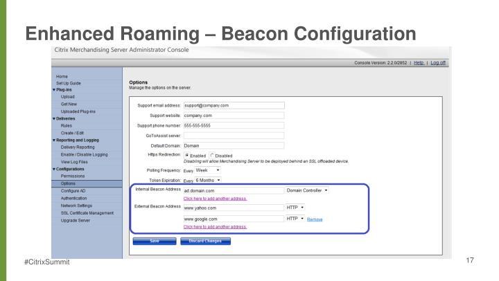 Enhanced Roaming – Beacon Configuration