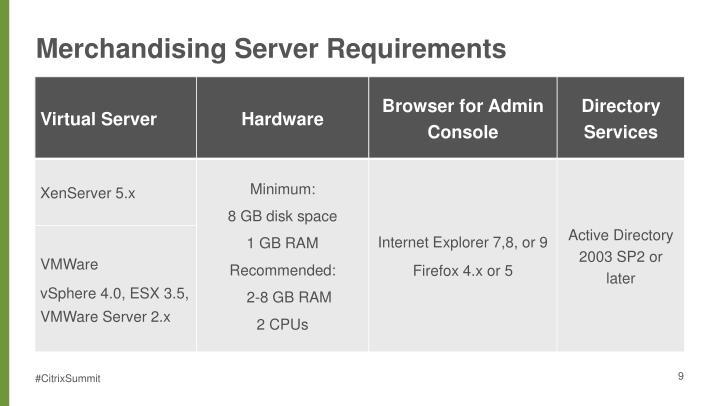 Merchandising Server Requirements