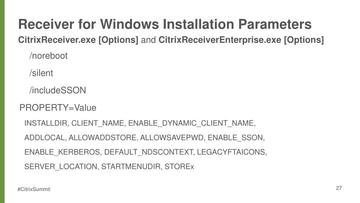 Receiver for Windows Installation Parameters