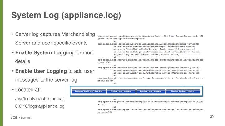 System Log (appliance.log)