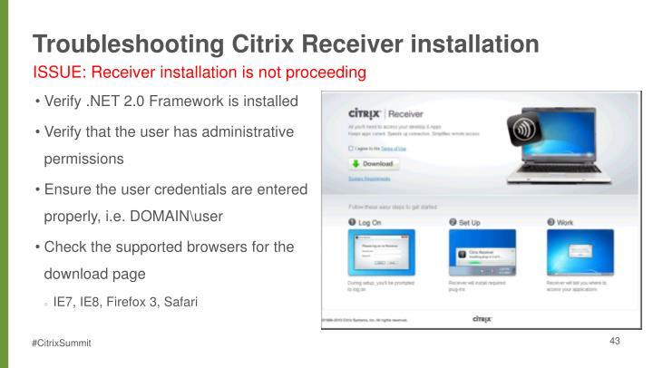 Troubleshooting Citrix Receiver installation
