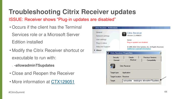 Troubleshooting Citrix Receiver updates