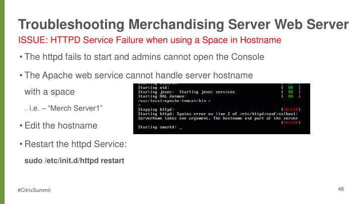 Troubleshooting Merchandising Server Web Server