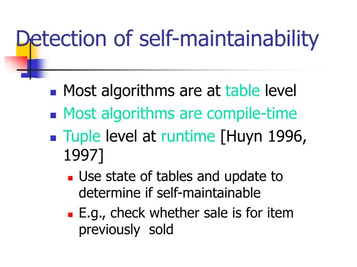 Detection of self-maintainability