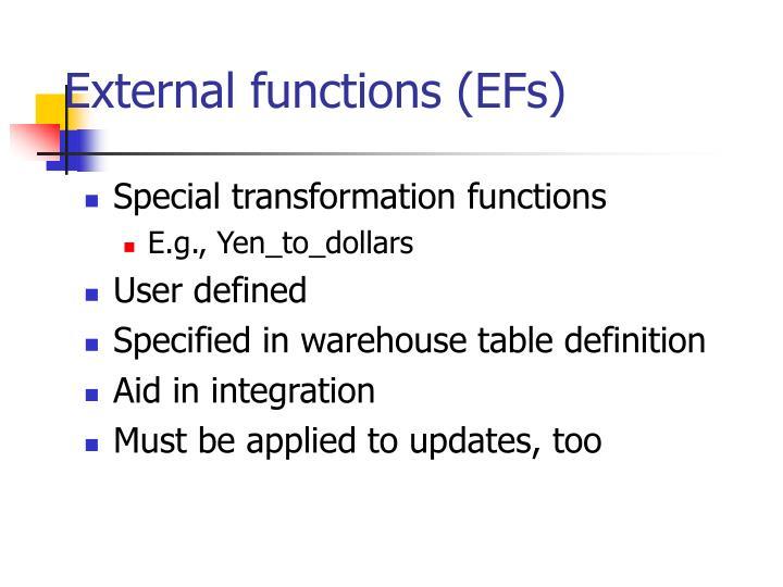 External functions (EFs)