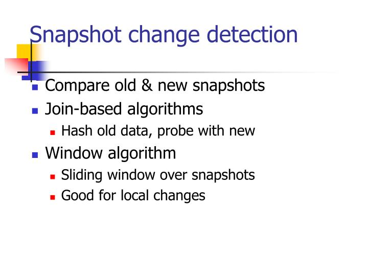 Snapshot change detection