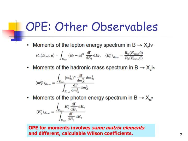 OPE: Other Observables