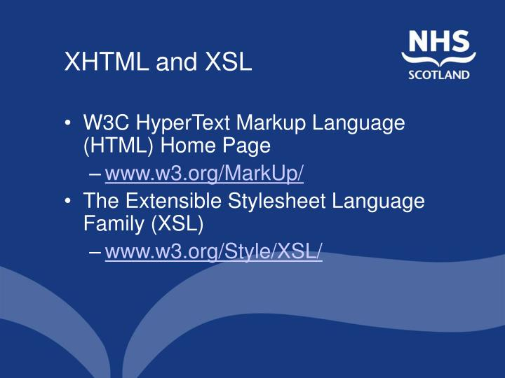 XHTML and XSL