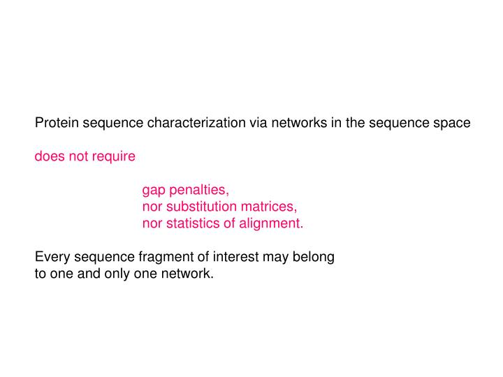 Protein sequence characterization via networks in the sequence space