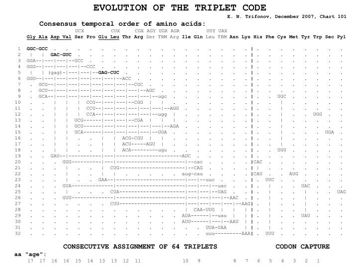 EVOLUTION OF THE TRIPLET CODE