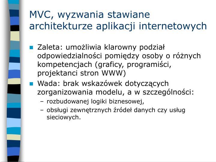 MVC, wyzwania stawiane