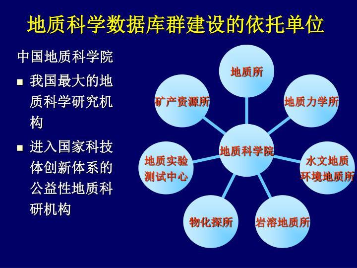 地质科学数据库群建设的依托单位
