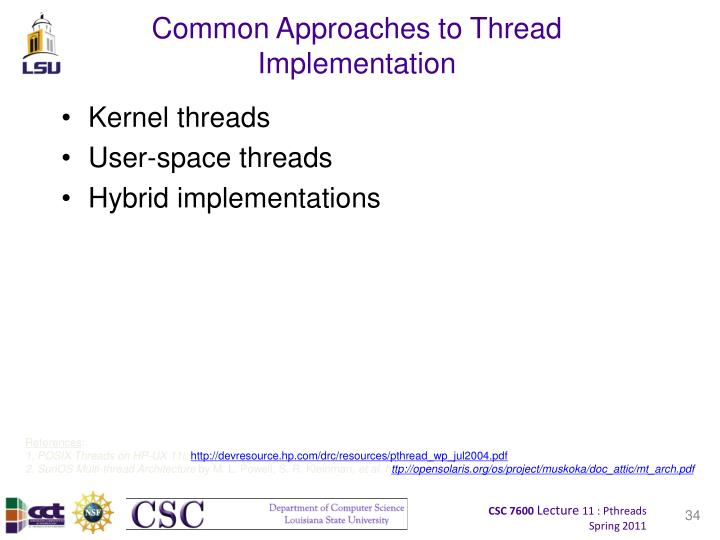 Common Approaches to Thread Implementation