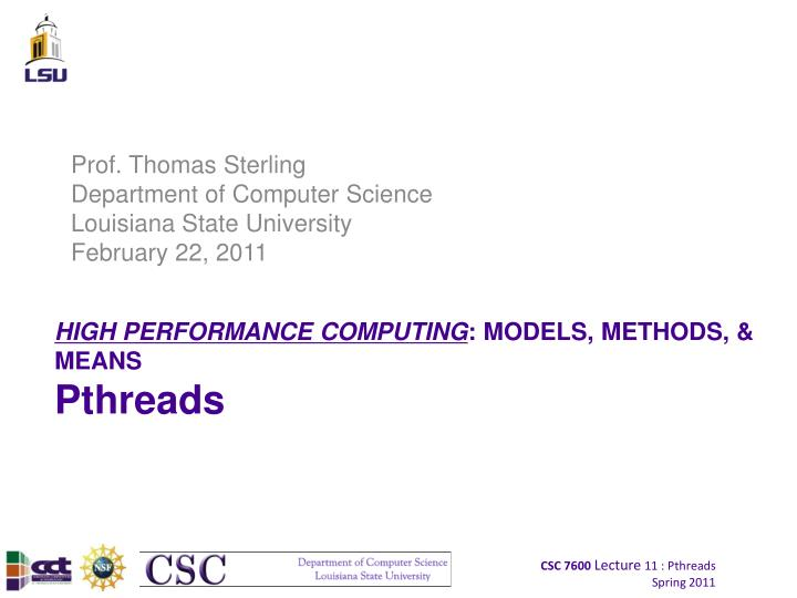 High performance computing models methods means pthreads