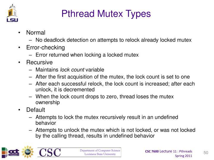 Pthread Mutex Types