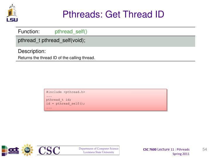 Pthreads: Get Thread ID