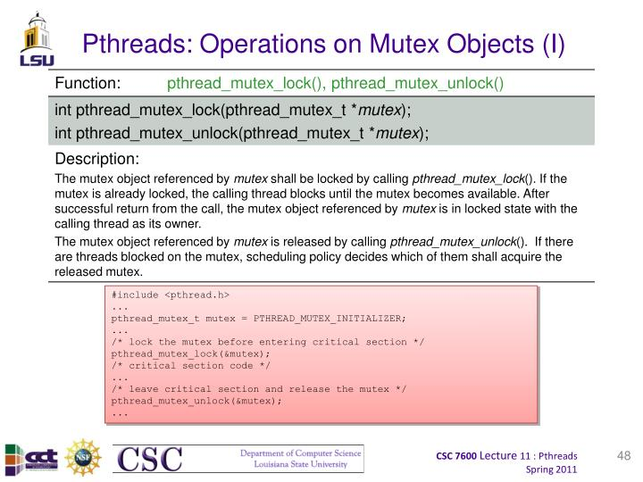 Pthreads: Operations on Mutex Objects (I)