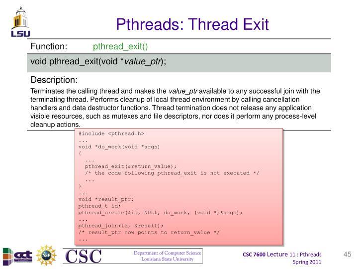 Pthreads: Thread Exit