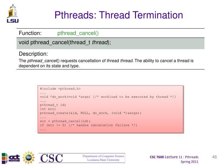 Pthreads: Thread Termination