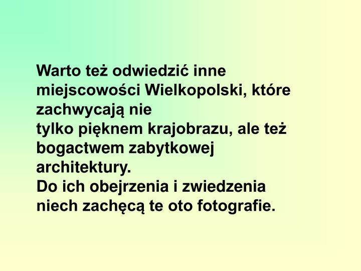 Warto też odwiedzić inne miejscowości Wielkopolski, które zachwycają nie
