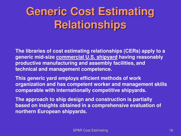 Generic Cost Estimating Relationships