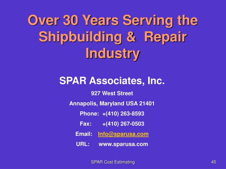 Over 30 Years Serving the Shipbuilding &  Repair Industry