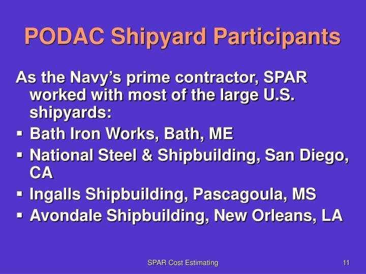 PODAC Shipyard Participants