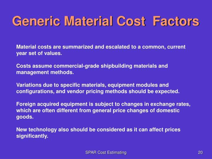 Generic Material Cost  Factors