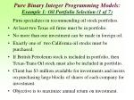 pure binary integer programming models example 1 oil portfolio selection 1 of 7