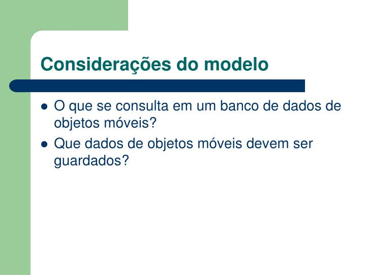 Considerações do modelo