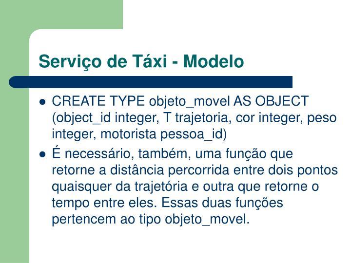 Serviço de Táxi - Modelo
