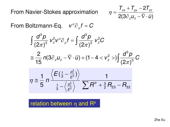 From Navier-Stokes approximation