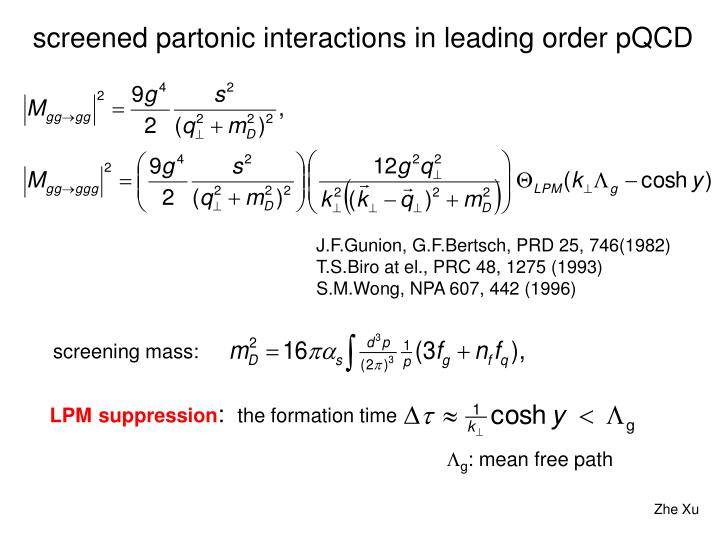 screened partonic interactions in leading order pQCD