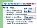 age specific ideas expectations