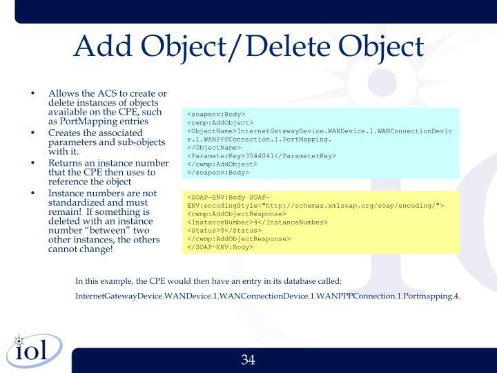 Add Object/Delete Object