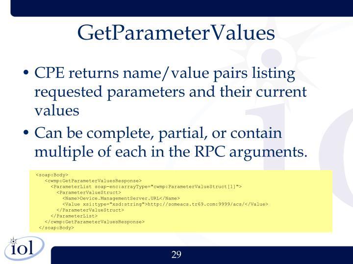 GetParameterValues