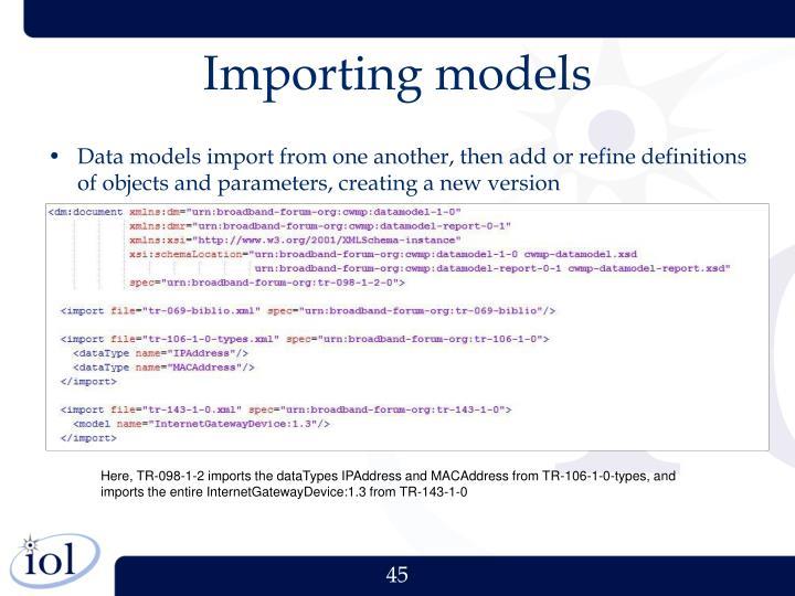 Importing models