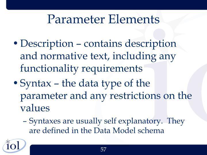 Parameter Elements