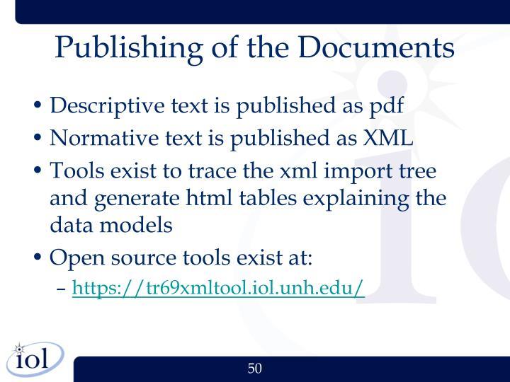 Publishing of the Documents